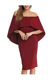 GloryStar Women Cocktail Dress Off Shoulder Batwing Cape Midi Bodycon Dress - My look - $13.99