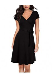 GloryStar Women Wrap A Line Dress V Neck Long Sleeve Knit Dress Work to Wear Dress (XL, Black) - My look - $16.99