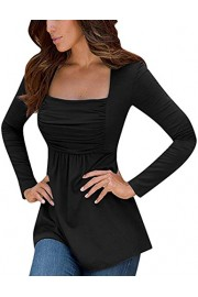 GloryStar Womens Peplum Tops Empire Waist Baby Doll Tops Tunics Long Sleeve - My look - $19.99