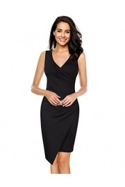 GlorySunshine Women's Sleeveless V Neck Faux Wrap Ruched Midi Bodycon Cocktail Pencil Dress - My look - $15.99