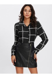 Grid Long Sleeve Shirt - My look - $15.00