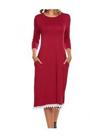 Halife Women's 3/4 Sleeve Loose Tunic Pocket T-Shirt Dress w/Lace - Moj look - $8.99  ~ 57,11kn
