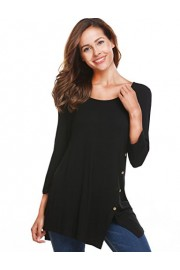 Halife Women's 3 4 Sleeve Split Hemline Casual T-Shirt Blouse Tunic Tops with Buttons - Moj look - $12.99  ~ 82,52kn
