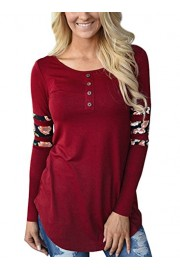 Halife Women's Casual Front Buttons Tops Floral Print Patchwork Long Sleeve Henley Tunic Shirts - Moj look - $16.99  ~ 107,93kn