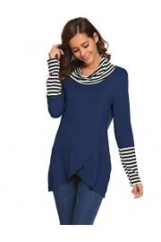 Halife Women's Cowl Neck Draped Striped Stitching Long Sleeve Layered Top - Moj look - $6.99  ~ 44,40kn