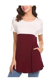 Halife Women's Crewneck Color Block Short Sleeve T-Shirt Tunic Blouse Top with Pockets - Moj look - $5.99  ~ 38,05kn