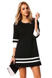 Halife Women's Elegant 3/4 Sleeve Crewneck Contrast Color Straight Shift Dress - Moj look - $21.99  ~ 139,69kn