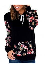 Halife Women's Floral Sleeve Cowl Neck Pullover Hoodies Sweatshirts with Kangaroo Pocket - Moj look - $19.99  ~ 126,99kn