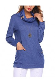 Halife Womens Long Sleeve Button Cowl Neck Pullover Casual Slim Tunic Sweatshirt Tops with Pockets - Moj look - $6.99  ~ 44,40kn