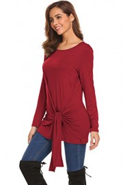 Halife Women's Long Sleeve Knot Front O Neck Blouse Tops Loose Comfy Casual T Shirts - Moj look - $5.99  ~ 38,05kn