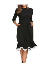 Halife Women's Loose 3 4 Sleeve Midi Below Knee Trapeze Pocket Dress w/Lace Detail - Moj look - $14.99  ~ 95,23kn