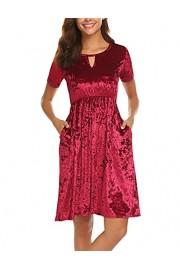 Halife Women's Roll Over Sleeve Knee High Low Hem Crushed Velvet Midi Dress - Moj look - $8.99  ~ 57,11kn