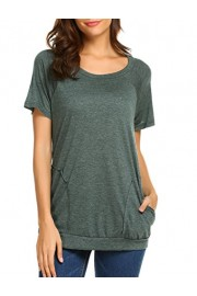 Halife Women's Short Sleeve Flowy Tunic Tops Shirt Casual Blouses Pocket Green M - Moj look - $23.99  ~ 152,40kn