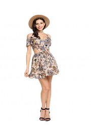 Halife Women's Sleeveless Floral Open Back Skater Cocktail Off Shoulder Party Dress Ruffle - Moj look - $17.99  ~ 114,28kn