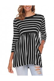 Halife Women's Smock Neck 3/4 Sleeve Cotton Striped Shirts Tunic Tops with Pockets - Moj look - $14.99  ~ 95,23kn