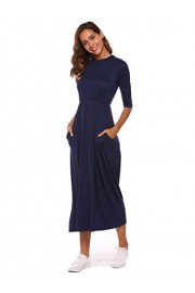 Halife Women's Smock Neck 3/4 Sleeve Fit and Flare Long Midi Dress with Pockets - Moj look - $15.99  ~ 101,58kn