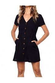 Halife Women's Summer Short Sleeve V Neck Button Down Swing Mini Dress with Pockets - Moj look - $14.99  ~ 95,23kn