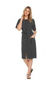 Halife Womens Vintage Wear to Work Slit Front Striped Pocket Midi Dress w/Belt - Moj look - $5.99  ~ 38,05kn