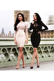 Hego Women's Mesh Studded Long Sleeve Bandage Party Dress H1577 - Passarela - $69.00  ~ 59.26€