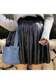 High waist pleated pleated black faux le - My look - $27.99