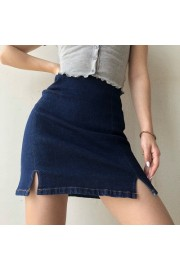 High waist slim elastic stretch denim skirt split hip skirt skirt - Mein aussehen - $28.99  ~ 24.90€