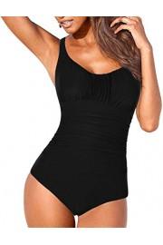 Hilor Women's One Piece Swimsuits Shirred Tummy Control Swimwear Tank Bathing Suits - O meu olhar - $26.99  ~ 23.18€
