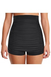 Hilor Women's Retro Ultra High Waisted Swim Bottom Boy Leg Tankini Shorts Ruched Swimwear Briefs - My look - $12.99