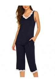 Hotouch Pajama Set for Women Capri Ladies Pjs Sets Capri Navy L - My look - $25.96