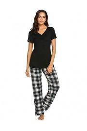 Hotouch Pajama Sets Women Sleepwear Pjs Cotton Top & Long Plaid Bottoms Loungwear Pj Set S-XXL - My look - $10.99