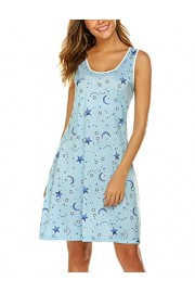 Hotouch Sleepwear Women's Sleeveless Nightgowns Sleep Shirts Printed Scoopneck Sleep Dress S-XXL - My look - $4.99