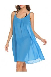 Hotouch Women Beach Swimsuit Sleeveless Coverups Bikini Cover Up Sky Blue L - My look - $16.99
