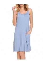 Hotouch Women Soft Nightgown Sleepwear Night Shirts Sleeveless Sleep Dress S-XXL - My look - $15.99