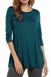 Hotouch Women Tunic Top 3/4 Sleeve Loose Fit Swing Basic T Shirt for Leggings Plus Size S~3XL - My look - $9.99