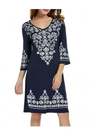 Hotouch Women's 3/4 Sleeve Casual Flowy Print Swing T-Shirt Tunic Dress - My look - $21.99