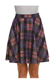 Hotouch Women's Plaid Flared Skirt A-Line High Elastic Tartan Pleated Winter Warm Wool Skirts Short - My look - $9.99
