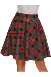 Hotouch Women's Plaids Skirts Elastic Waist Knee Length Wool Plaid A-Line Pleated Flared Skirt Red S - My look - $26.99