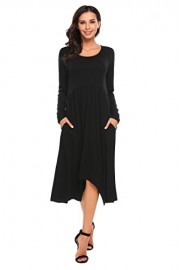 Hotouch Women's Plain Scoop Neck Draped Pockets Loose Swing Casual Midi Dress - My look - $9.99