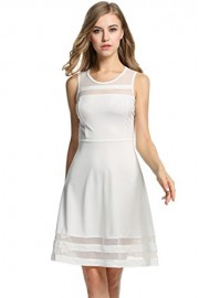 Hotouch Women's Sleeveless A-Line Flare Slim Semi Sheer Party Cocktail Dress - My look - $9.97