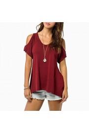 Idingding Women's Casual Cold Shoulder Wide Hem Tunic Tops Solid Color T-shirts - Il mio sguardo - $28.99  ~ 24.90€
