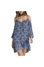 Idingding Women's Fashion Off Shoulder V-Neck Long Sleeve Printed Camisole Dress - Il mio sguardo - $28.99  ~ 24.90€