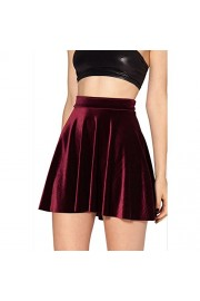Idingding Womens Hot Sale Autumn Velvet Half Length Flared Skater Mini Skirt - Il mio sguardo - $22.50  ~ 19.32€