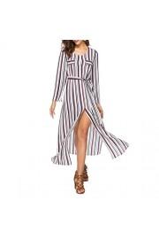 Idingding Women's Long Sleeve Stripe Cardigan Tie-Waist Split Maxi Long Dresses - Il mio sguardo - $28.99  ~ 24.90€