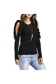 Idingding Women's Round Neck Cut Out Cold Shoulder Pullover Long Sleeve Knitted Sweater - Il mio sguardo - $31.99  ~ 27.48€