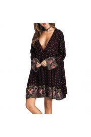 Idingding Women's Sexy Deep V-Neck Long Sleeve Bohemia Beach Cover Up Printed Dress - Il mio sguardo - $28.99  ~ 24.90€