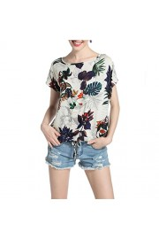 Idingding Womens Short Sleeve Round Neck Printed T-shirt Casual Loose Blouse Top - Il mio sguardo - $28.99  ~ 24.90€