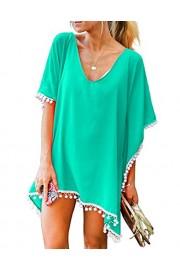 LA PLAGE Women's Chiffon Loose Pompom Tassel Swimsuit Cover Ups - My look - $17.99