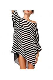 LA PLAGE Women's Chiffon Loose Stripe Swimsuit Cover Ups - My look - $17.99