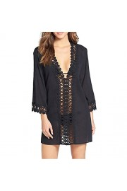 LA PLAGE Women's Lace Knitted Swimsuit Cover Ups Black - My look - $14.99