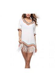 LA PLAGE Women's V neck Edging Tassel Swimsuit Cover Ups - My look - $15.99