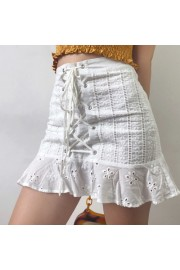 Lace-up lace high waist skirt - My look - $35.99